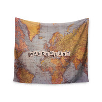 "Sylvia Cook ""Wanderlust Map"" World Wall Tapestry"