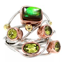 Ammolite & Peridot Sterling Silver Three Tone Collage Ring