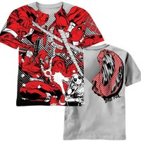 Marvel Comics Deadpool Dead Red AOP Glow in the Dark Adult Silver T-shirt