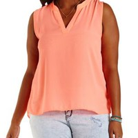 Plus Size Dusted Pink Lace & Chiffon Top by Charlotte Russe