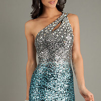 One Shoulder Sequin Dress by Dave and Johnny