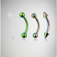 14 Gauge Green & Rainbow Belly Ring 4 Pack - Spencer's