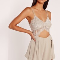 Missguided - Lace Cut Out Playsuit Grey