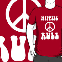 Awesome Hippies Rule - 60s T-Shirt With Peace Sign