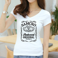 Sons of Anarchy SAMCRO Women Sexy T Shirts Short Sleeve Female