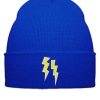 lightning bolts embroidery - Beanie Cuffed Knit Cap