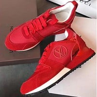 LV Louis Vuitton Stylish Women Personality Sneakers Sport Shoes Red I