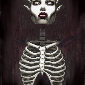 "Skeleton Pin Up ""Sinister"" 12x18 limited edition print"