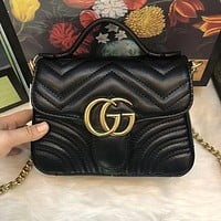 GG sells lady's double G fashion V-type leather mini-handbag