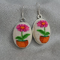 Earrings flower in pot Magenta flower Embroidered jewelry Unique flower Earrings handmade Embroidered flower Oval earings Gift for her