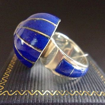 Lapis Inlay Domed Sterling Silver Ring, Blue, Heavy, Statement, Sz 8, Vintage