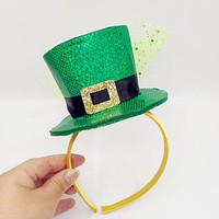 Green Glitter Leprechaun Top Hat Headband