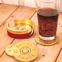 Set Of 4 Shotgun Shell Drink Coaster W/Holder Gun Hunter Enthusiast Lodge Cabin