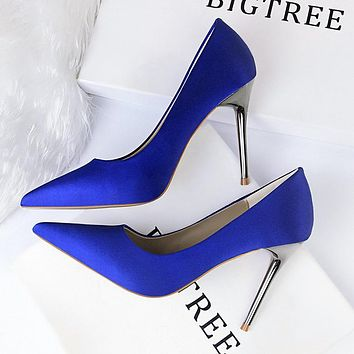 Fashionable simple women's shoes high heel satin shallow mouth pointed sexy nightclub single shoes high heels  sapphire blue