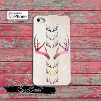 Deer Antler Tribal Vintage Look Cool Cute Pink Hunting Camo Custom iPhone 4 and 4s Case and Custom iPhone 5 and 5s and 5c Case