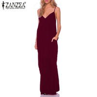 Zanzea 2016 Summer Style Women Boho Strapless Sexy V Neck Sleeveless Dress Casual Loose Long Maxi Solid Dress Vestidos Plus Size