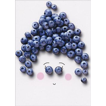 Thank You Greeting Card - Blueberry Face