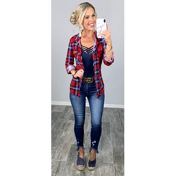 Penny Plaid Flannel Top - Red/Navy