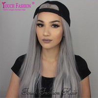 10A Brazilian Grey Full Lace Human Hair Wigs Straight Silver Gray Glueless Front Lace Wigs 130% with Comb and Straps Gray Wig