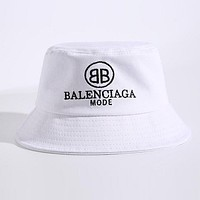 Balenciaga Summer Popular Letter Embroidery Casual Shade Sunhat Fisherman Hat Cap White I12421-1