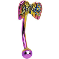 16 Gauge 10mm Pink and Yellow Anodized Titanium Angel Wings Eyebrow Ring | Body Candy Body Jewelry
