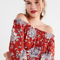 UO Saffron Skies Off-The-Shoulder Dress | Urban Outfitters