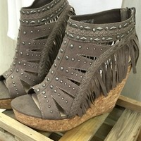 Frolic In Fringe Wedge - Taupe