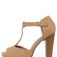Care for a Lift? Natural T-Strap Peep Toe Platform Heels