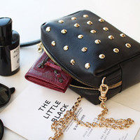 Chic Studded Black Little Purse. Black Genuine Leather Chain Sling Bag. Cute Small Clutch Bag