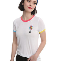 Disney Up Balloon House Embroidered Tricolor Girls Ringer T-Shirt
