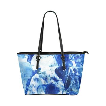 Tote Bags, Blue and Black Swirl Blue Style Leather Bag