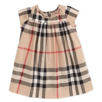 Check-Print Ruffle-Collar Dress, Tan, 3-18