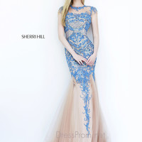 Illusion High Neckline Formal Prom Gown By Sherri Hill 1939