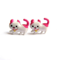 Cute Kitty Earrings - Pink and White Small Cat Stud Earring, Cartoon Pussy Cat Jewelry