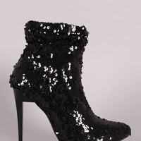 Liliana Sequins Slouchy Pointy Toe Stiletto Booties