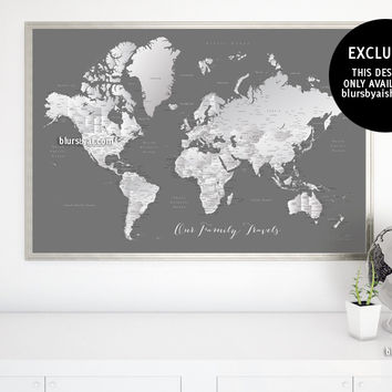 """Printable world map with cities in grayscale, Our Family Travels, large 60x40"""""""