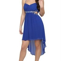 Spaghetti Strap Dress with Stone Cut Out Sides and High Low Skirt