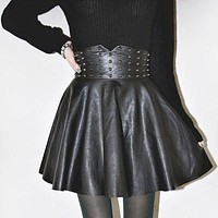 Gothic Black Leather High Waist Skirt