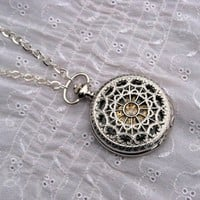 Pocket Watch Necklace  1882's Archaize Silver by ArtInspiredGifts