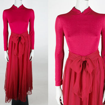 Vintage 70s Dress / 1970s Red Miss Elliette Maxi Dress with Chiffon Skirt S