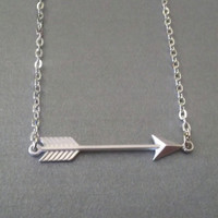 Silver Arrow Necklace Simple Modern Jewelry by TheBonnyBoutique