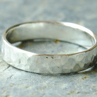 Hammered Silver Band Unisex Sterling Wedding by DalkullanJewelry