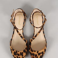 Bamboo Object-75 Leopard Buckle Pointy Toe Flat
