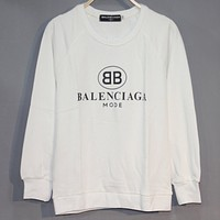 Balenciaga classic double B printed pullover round neck long sleeve sweater White