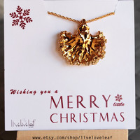 Christmas Gift ideas - Gold dipped Kale Leaf Pendant Necklace, Stocking stuffers, dipped leaf, Lettuce, Unique Kale leaf necklace, birthday