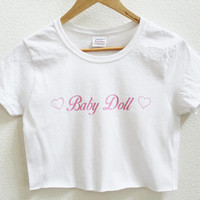 Baby Doll White Graphic Print Women's Crop Shirt S M L XL XXL 3XL