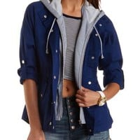 Hooded & Layered Anorak Jacket by Charlotte Russe - Navy Blue