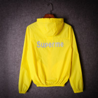 Summer tide brand men and women couples luminous luminous sunscreen clothing 3M reflective coat thin coat Yellow