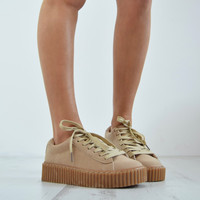 SHOW GIRL Gum Sole Creeper - Beige Faux Suede