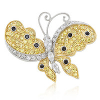 Two-tone Finish Butterfly Brooch